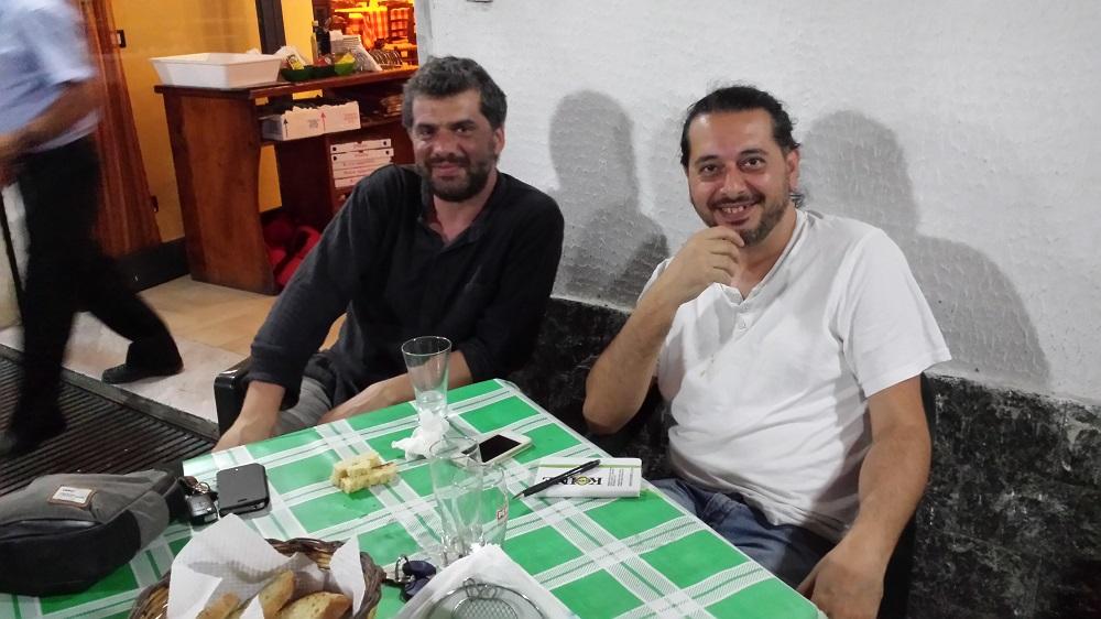 Due grandi artisti a cena insieme, il cantante Fabio Macagnino e lo scultore Ciccio P.