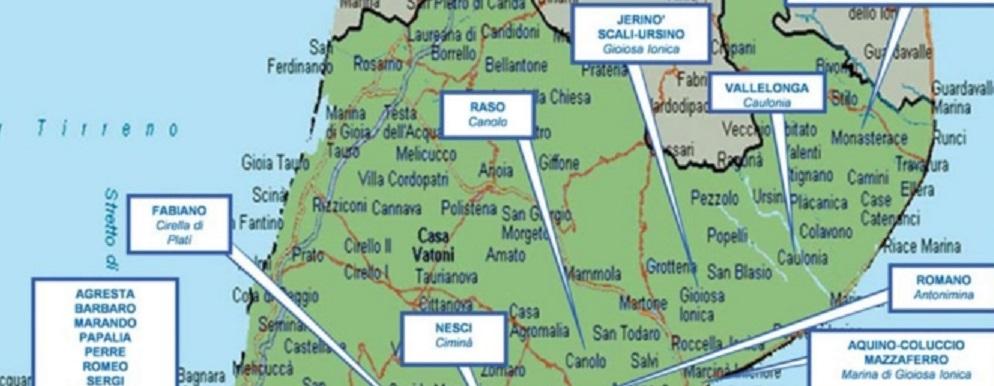 La mappa delle cosche di 'ndrangheta in Provincia di Reggio Calabria, secondo la Dia