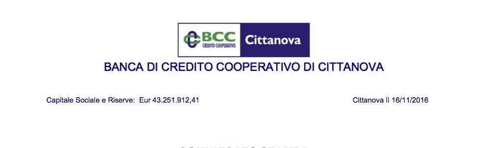 Banca Credito Cooperativo Cittanova, Progetto di fusione