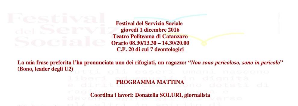 """Catanzaro, seconda edizione del """"Festival del servizio sociale"""""""