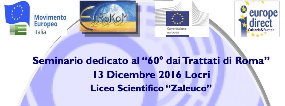 """Locri: incontro 60 anni Trattati di Roma al Liceo """"Zaleuco"""""""