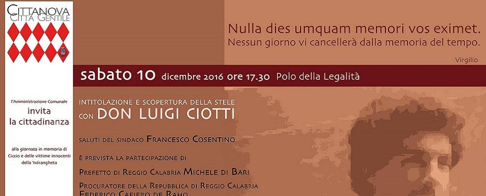 Don Luigi Ciotti a Cittanova per l'intitolazione del Polo della legalità a Francesco Vinci