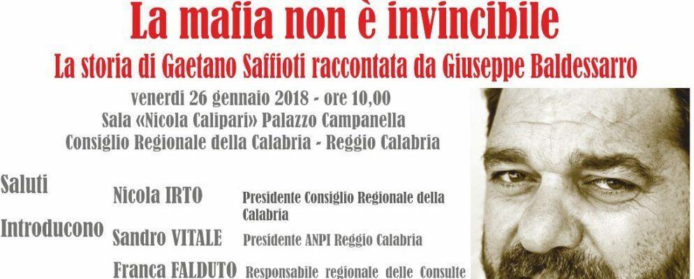 """""""La mafia non è invincibile"""" la storia di Gaetano Saffioti raccontata agli studenti"""