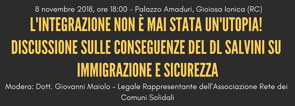I sindaci di Caulonia, Gioiosa, Cinquefrondi e Gasperina ospiti di Re.co.sol. per approfondire il decreto Salvini