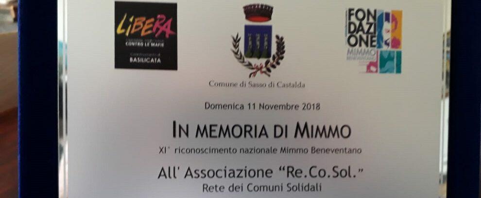 Re.Co.Sol. riceve il premio Mimmo Beneventano