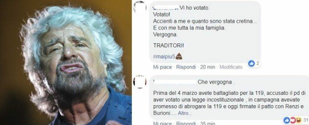 I No Vax insultano Beppe Grillo dopo la firma del Patto per la Scienza