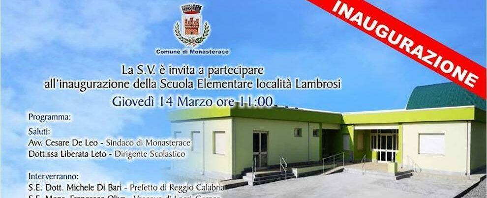 Domani verrà inaugurata la scuola elementare di Monasterace