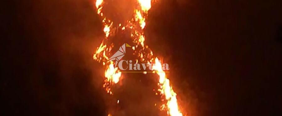 Emergenza fuoco a Placanica. L'incendio lambisce le abitazioni