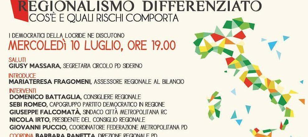 Regionalismo differenziato: se ne discuterà mercoledì con il circolo PD di Siderno