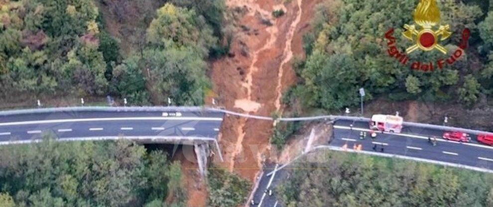 Crolla un viadotto sull'autostrada A6 a causa del maltempo