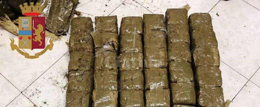 Rinvenuti e sequestrati dalla polizia quasi 38 chili di hashish
