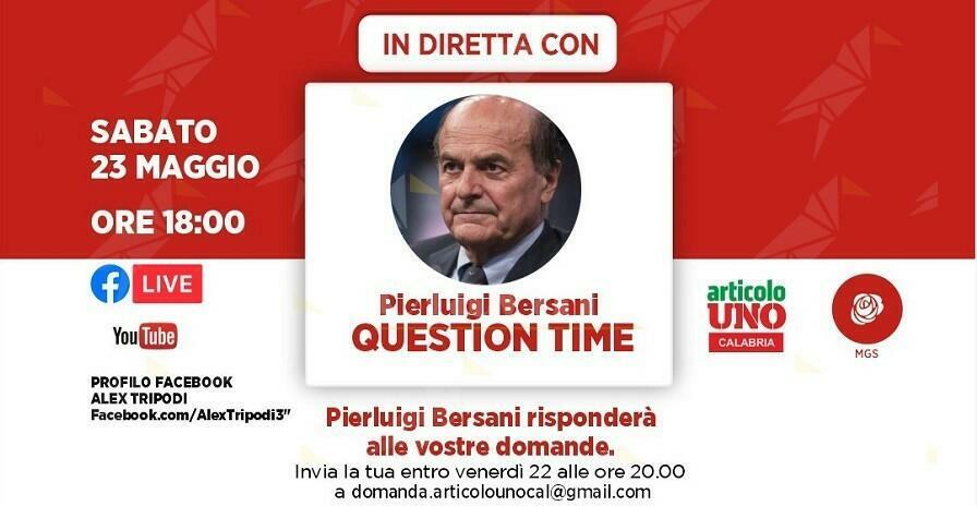 Articolo Uno Calabria, Bersani in diretta facebook risponderà ai cittadini
