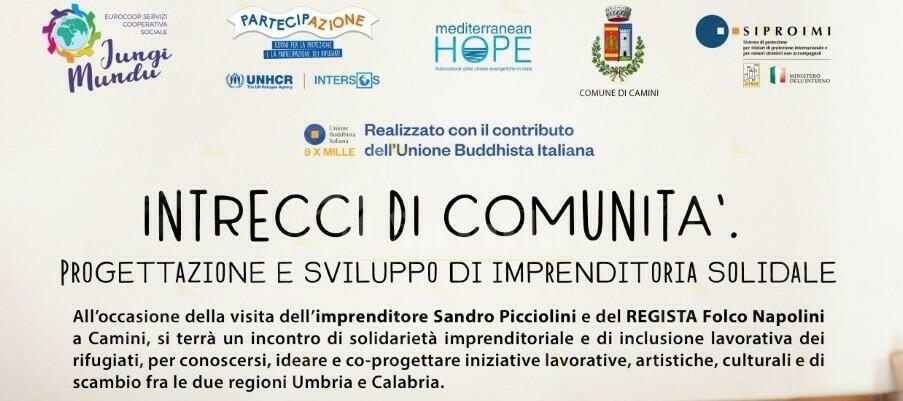 """Camini: venerdì e sabato """"Intrecci di comunità"""", solidarietà e progetti tra Umbria e Calabria"""
