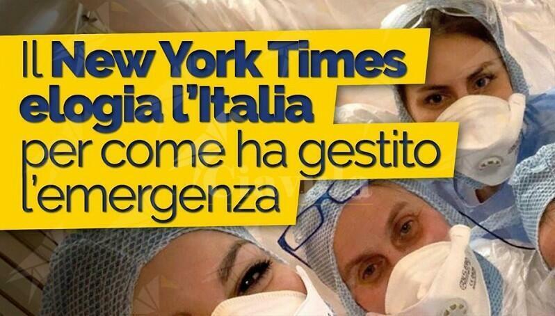 Il New York Times elogia l'Italia sulla gestione dell'emergenza Coronavirus