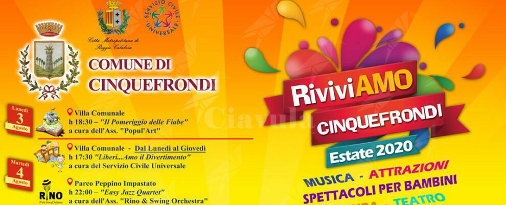 Dal 3 agosto spettacoli tutte le sere per turisti e cinquefrondesi con RiviviAMO Cinquefrondi