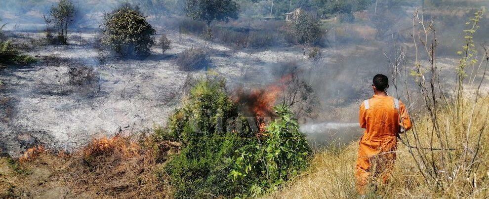 Incendio a Caulonia, in zona Candidati. La Protezione civile cerca di spegnerlo