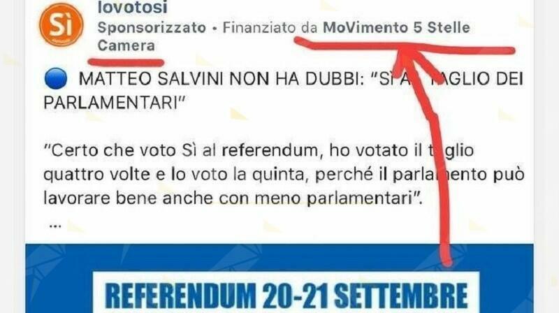 I 5 stelle utilizzano fondi pubblici per promuovere i post facebook di Salvini e Meloni